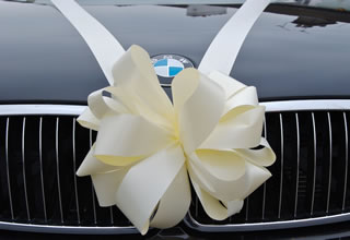 Wedding ribbon on the front of a BMW